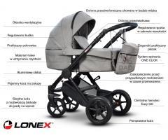 NOWOŚĆ 2018! Nowoczesny, sportowy wózek dziecięcy CITY LIGHT Lonex. Gondola i Spacerówka w jednym