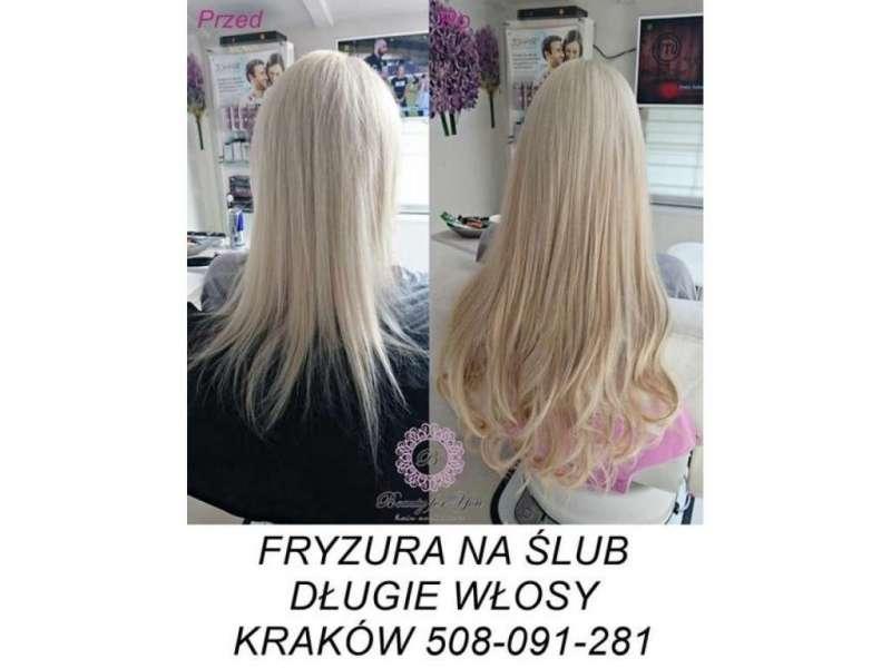 Fryzura ślubna Długie Włosy Kraków Usługi Kraków