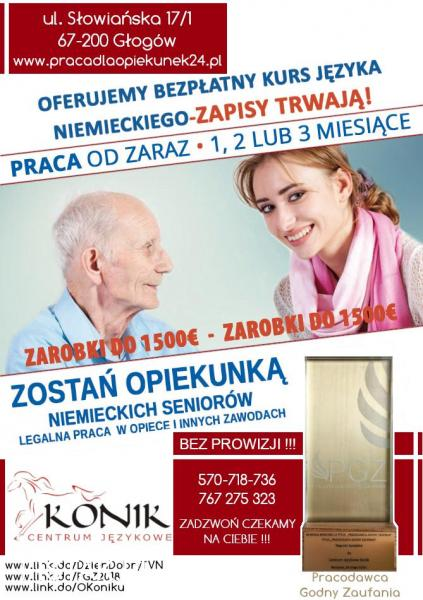 Zlecenie dla opiekunki z dobrym niemieckim 1400€ od zaraz