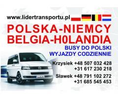 Busy do Niemiec, Belgi i Holandii. Przewóz osób i paczek.