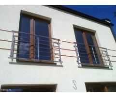 Balustrady nierdzewne INOX kwasówka  i lakierowane, aluminiowe balkony francuskie